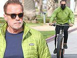 Arnold Schwarzenegger sports a lime green pufferas he goes for a bike ride in Los Angeles