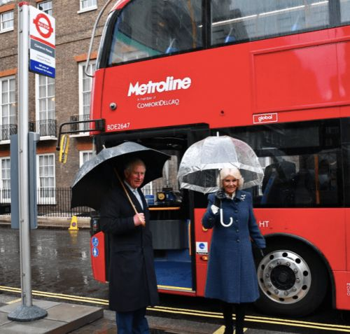 Old age pensioners Charles & Camilla make the most of their free bus pass