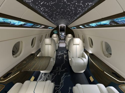 This high-tech Embraer private jet design seamlessly blends sustainability and technology. Take a look at Praeterra