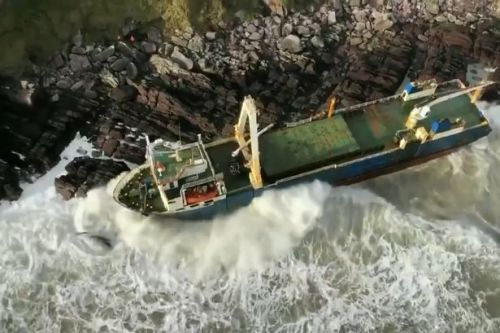 Ghost ship abandoned off Africa in 2018 blown onto Irish coast by Storm Dennis