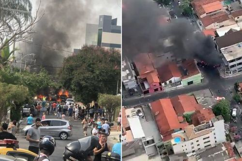 Brazil plane crash: Aircraft crashes 'after take-off' and lands in residential street