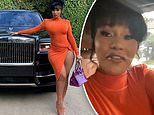 Cardi B stuns as she poses next to her new Rolls Royce.prior to Offset detainment at Trump Rally