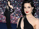 Dita Von Teese gives her pin-up style a Gothic twist in plunging black gown at Paris Fashion Week