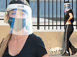 Kaley Cuoco dons mask and face shield as she returns to NYC to film The Flight Attendant