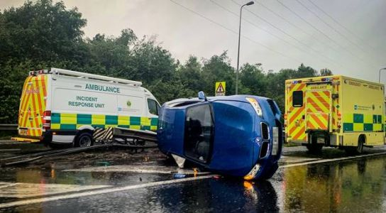 Northern Ireland traffic alerts: Emergency services at scene of car overturned on Belfast's M1