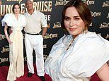 Emily Blunt and Dwayne Johnson attend the premiere of their new film Jungle Cruise at Disneyland
