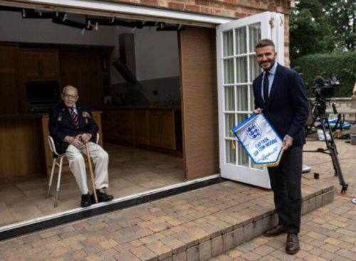 David Beckham Presents Captain Tom Moore With Special Award For NHS Fundraising Efforts