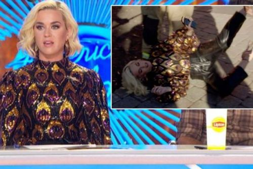 Katy Perry collapses to the floor after being overcome by a dangerous gas leak