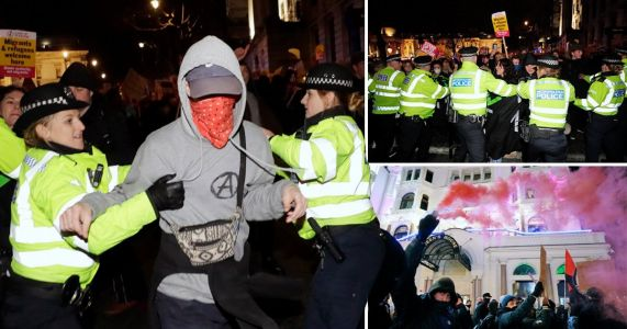 Clashes outside parliament as hundreds protest Boris Johnson victory