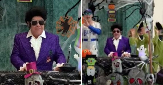 Elton John enlists the family for a very cute Halloween performance of Crocodile Rock