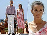 Queen Letizia dons a floral printed dress without a face mask
