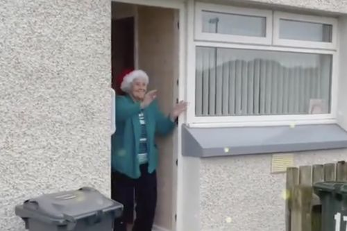 Dancing elves delight isolated Scots pensioners while delivering food packages