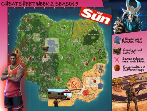 Fortnite score baskets in different hoops map - where to find all nine basketball courts for the week 2 challenge