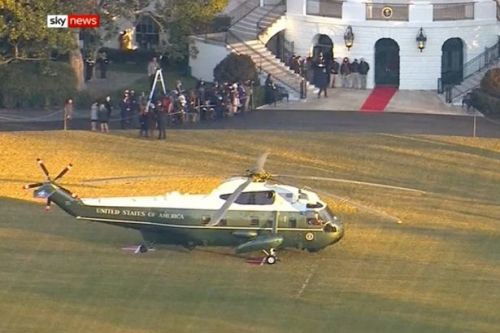 Donald Trump leaves the White House ahead of Joe Biden's inauguration