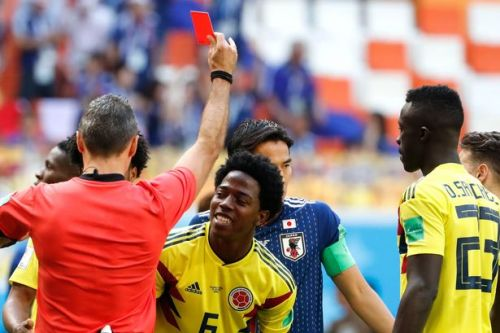 Carlos Sanchez sent off THREE minutes into Colombia's clash with Japan - but it isn't fastest World Cup red card