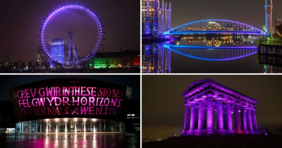 UK monuments bathed in purple light to mark Holocaust Memorial Day