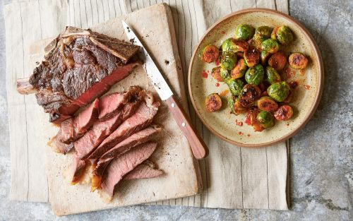 Rib of beef with gochujang sprouts recipe