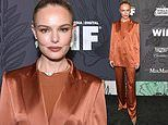 Kate Bosworth cuts a chic figure in bronze suitat the 12th Annual Women in Film Oscar Party