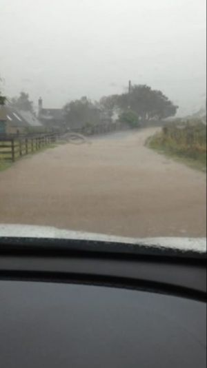 Pictures show conditions north-east motorists faced this morning after heavy rain hit