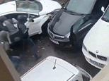 Shocking moment thugs surround car and 'stab the driver with a PITCHFORK'