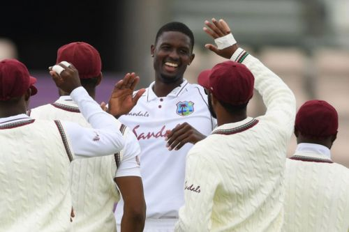 West Indies captain Jason Holder reacts after taking career-best figures in first Test against England