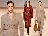 Irina Shayk looks chic as she storms the runway with stylish Doutzen Kroes during Milan Fashion Week