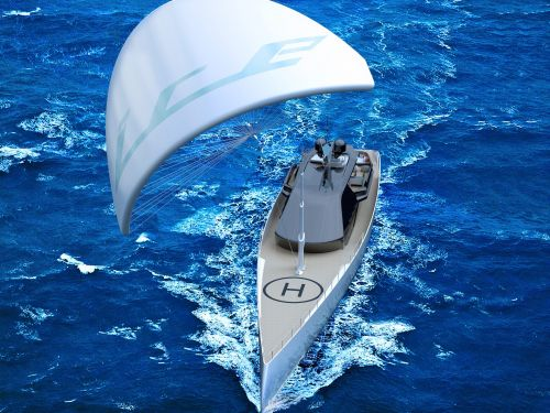 This sleek superyacht takes a greener approach to luxury sailing with a massive kite to pull it along - see inside the 'Ice Kite'