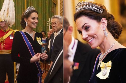Kate Middleton stuns in velvet gown and Princess Diana's tiara at Buckingham Palace
