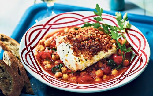 Harissa-crusted cod with quick chickpea, spinach and tomato stew recipe