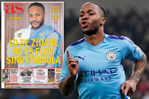 Raheem Sterling poses with Real Madrid shirt as he responds to transfer speculation