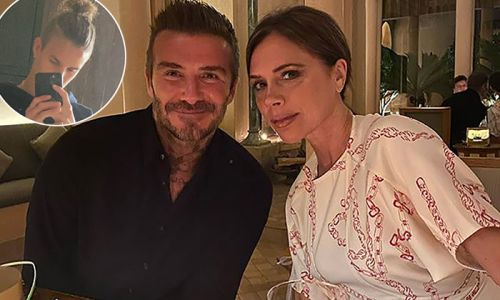 Romeo Beckham twins with mum Victoria as he shows off shoulder-length hair