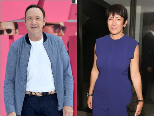 Ghislaine Maxwell and Kevin Spacey pictured posing on Buckingham Palace's thrones on a private tour hosted by Prince Andrew