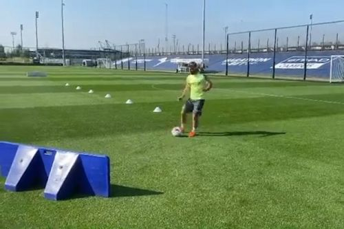 Sergio Aguero teases early injury return as he steps up Man City training