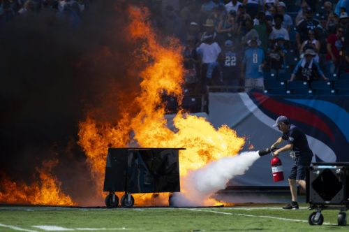 Huge fire breaks out pitchside moments before Tennessee Titans vs Indianapolis Colt NFL clash