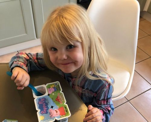 Dad leaves the room for 10 minutes, returns to find his three-year-old daughter has eaten 18 pots of yoghurt
