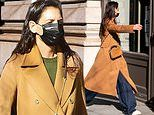 Katie Holmes steps out in long camel coat with matching purse to run solo errands in New York City