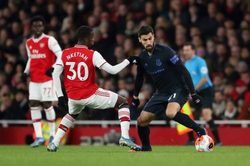 Andre Gomes plays for Everton vs Arsenal. just FOUR months after horror leg break