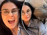 Demi Moore, 58, flaunts a youthful glow as she cuddles with her adorable dog in makeup-free selfie