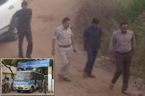 India rape: Four men accused of raping and killing vet shot dead after 'trying to escape'