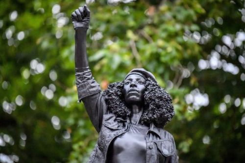 Edward Colston statue replaced at dawn by Black Lives Matter protester sculpture