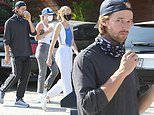 Patrick Schwarzenegger cuts a casual look as goes shopping with girlfriend Abby Champion