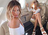 Leggy Ferne McCann poses up a storm on a private jet