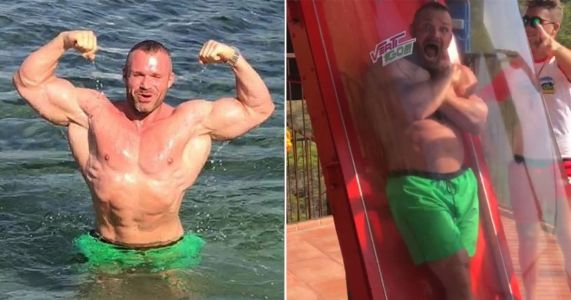 Bodybuilder who lied he was scared of heights is caught out with waterslide video
