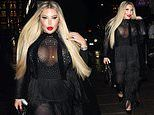 Jessica Alves puts on an eye-popping display in sheer black tassel jumpsuit