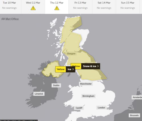 UK weather forecast - Snow and ice to grip the North but the South is warming up for the weekend
