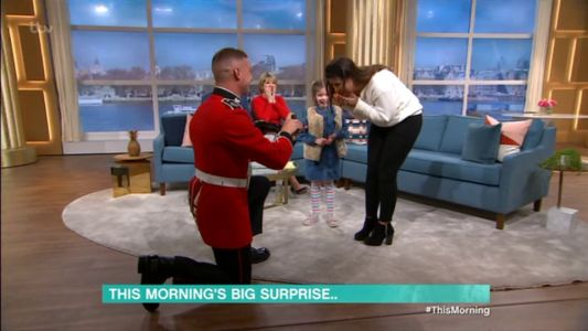 This Morning fans in tears as soldier proposes to girlfriend live on show after not seeing her for six months