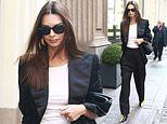 Emily Ratajkowski looks classically chic in black trouser suit as she strolls through Milan