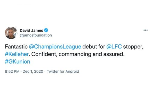 'Fantastic': David James reacts to Caoimhin Kelleher's display in Liverpool FC's 1-0 win over Ajax