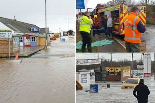 River Aire bursts sweeping cars off road and submerging homes as police evacuate area