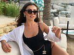 Love Island's Francesca Allen flaunts her incredible physique in a black scalloped swimsuit in Dubai